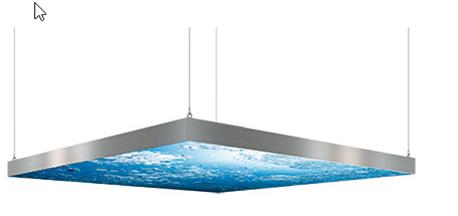 Decken-Leuchtrahmen 120 - einseitig - Horizontale Deckenabhängung